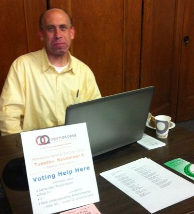 This is the developer David doing Voter Outreach at the HAUMC community meal a few years back.