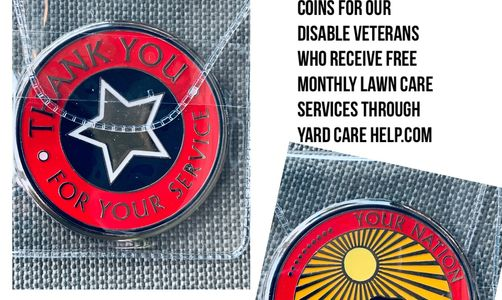 Lawncare service challenge coin for veterans