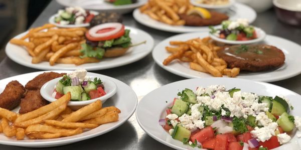 Greek salad, Fish and Chips