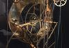 Rear View, Close-Up, Replica of a Glass Plate Skeleton Clock, Large Great Wheel, Weight Driven