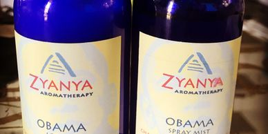 Product shot of Zyanya Aromatherapy Obama lotion and spray mist.