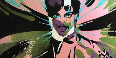 Prince spin art print by Kii Arens.
