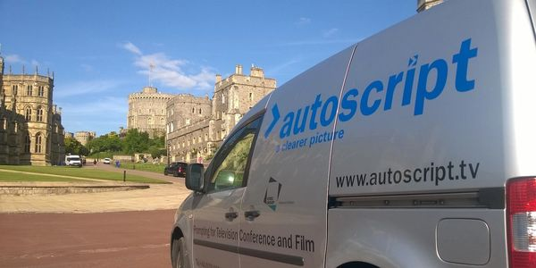 autoscript autocue van delivering prompting equipment kit windsor castle hire london