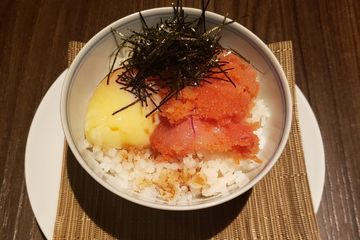 -Premium Spicy Cod Roe -Koshihikari RiceOntama -photo is with softly cooked egg(additional $2.00).