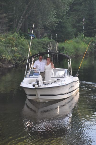Fishing on our wedding day