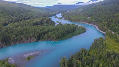 Aerial view of the Kenai River in Cooper Landing, Alaska