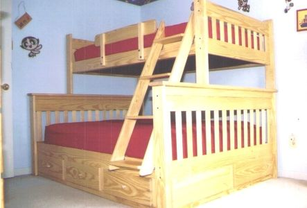 wooden bunk beds, full plus single