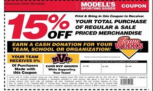 G.A.ME 15% coupon to shop Modell's! Donate 5% when you do!