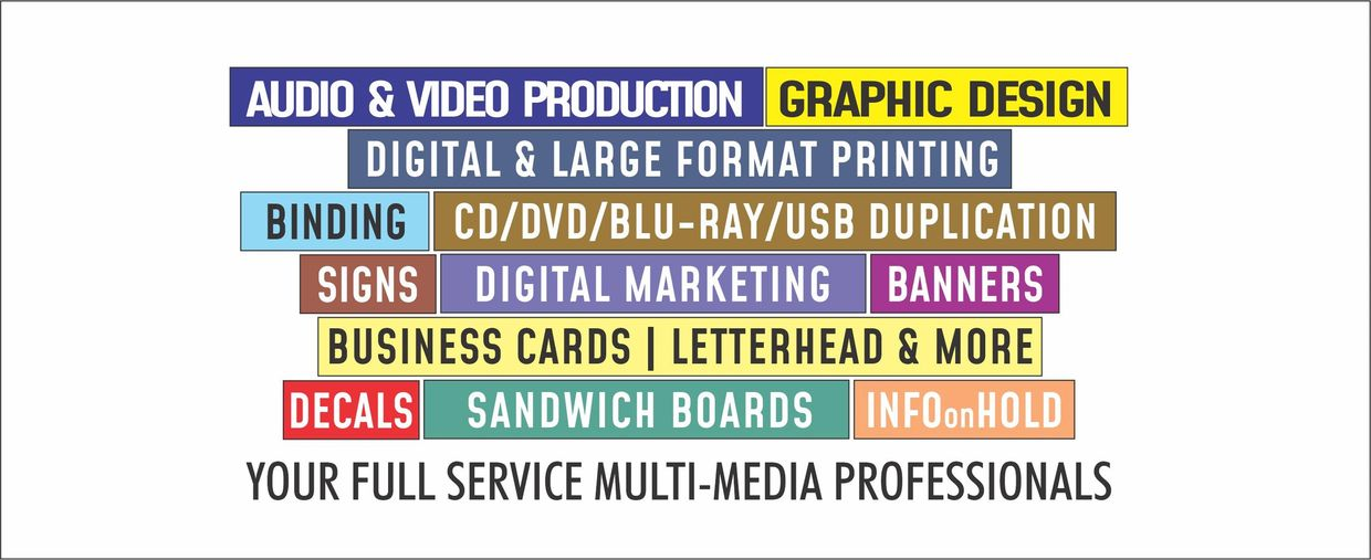 Dat Media services include audio &video production, graphic design, digital &large format printing