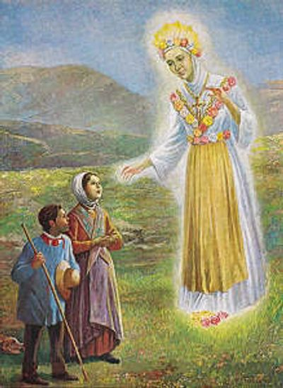 The apparition of Our Lady to Maximin and Melanie