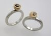 sterling silver +14k gold rings with small diamonds