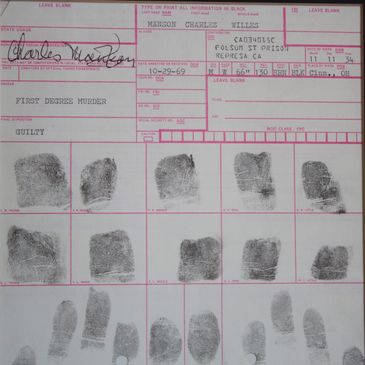 Charles Manson Fingerprint Card