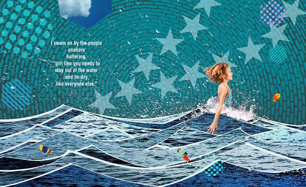 Art from A Girl Like Me, illustrations by Nina Crews, written by Angela Johnson. Collage of girl swi