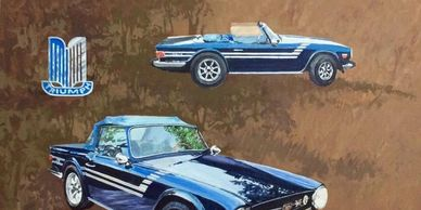 car drawings, TR6, cars