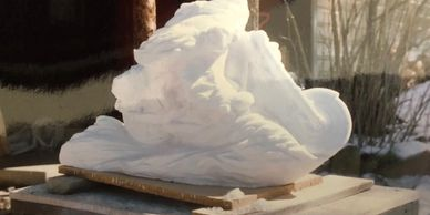 Marble sculpture.  750 lb white marble.