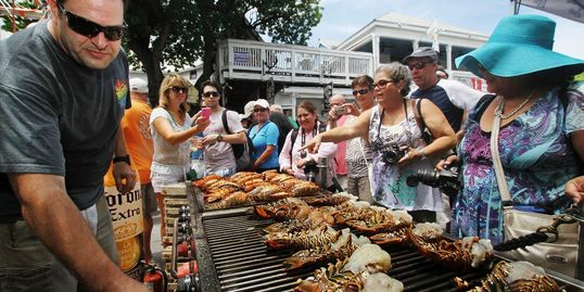 delicious spiny lobster on the grill at key west lobsterfest