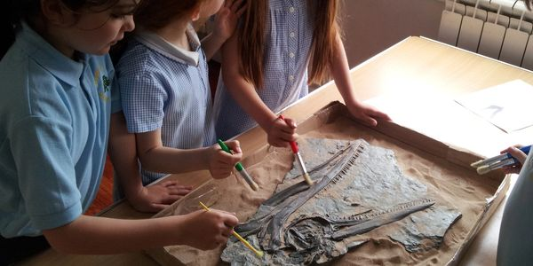 KS1 dinosaur workshop hands-on activity. KS1 dinosaur activity. School dinosaur visitor.