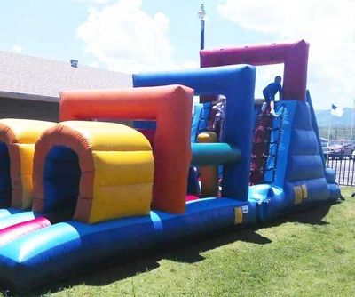 Our obstacle course Inflatable challenge course.