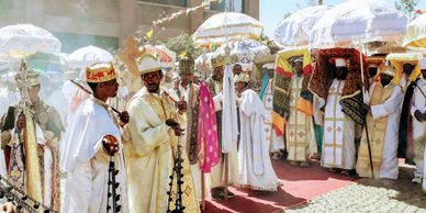 Ethiopian Christmas or Timket Orthodox Christian Epiphany in Lalibela or Gondar. Talbots priests