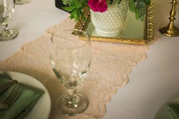 blush lace runner rental
