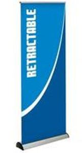 Deluxe telescoping retractabe banner
