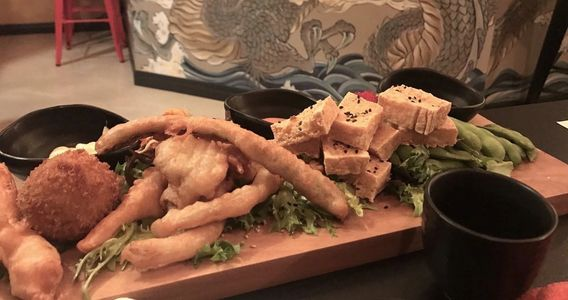 vegetarian,  sushi, tofu, fried tofu, edamame, tempura vegetables,  sampler platter,