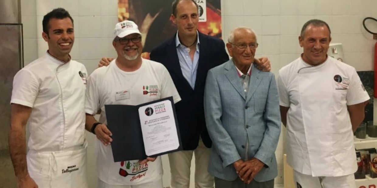 Our Pizzaiolo getting his certificate in Napoli, Italy.