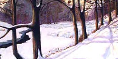 Another snow scene, showing a path on the north side of the old First Dam was his favorite.