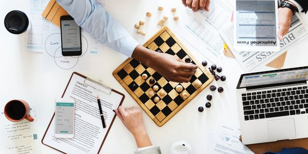 business strategy with chessboard