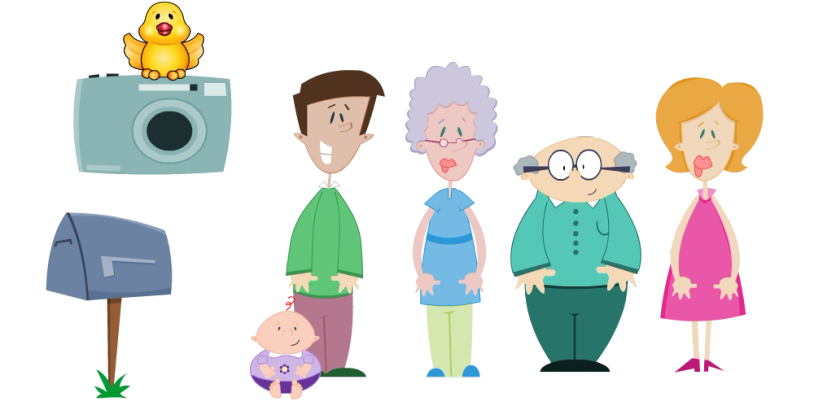 Character Design of a family for a commercial for a photography product. A bird, baby, dad, mom, grandpa, mom, grandma.
