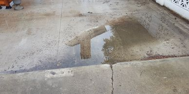 Do you have concrete that has sunken and pools water? We repair concrete before applying the Rubber Paving.