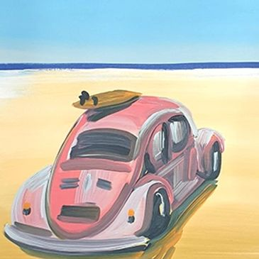 painting of VW beetle on beach. Painting by Grace McClymont for sale. Sunshine Coast.