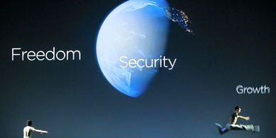 globe with freedom and security captions
