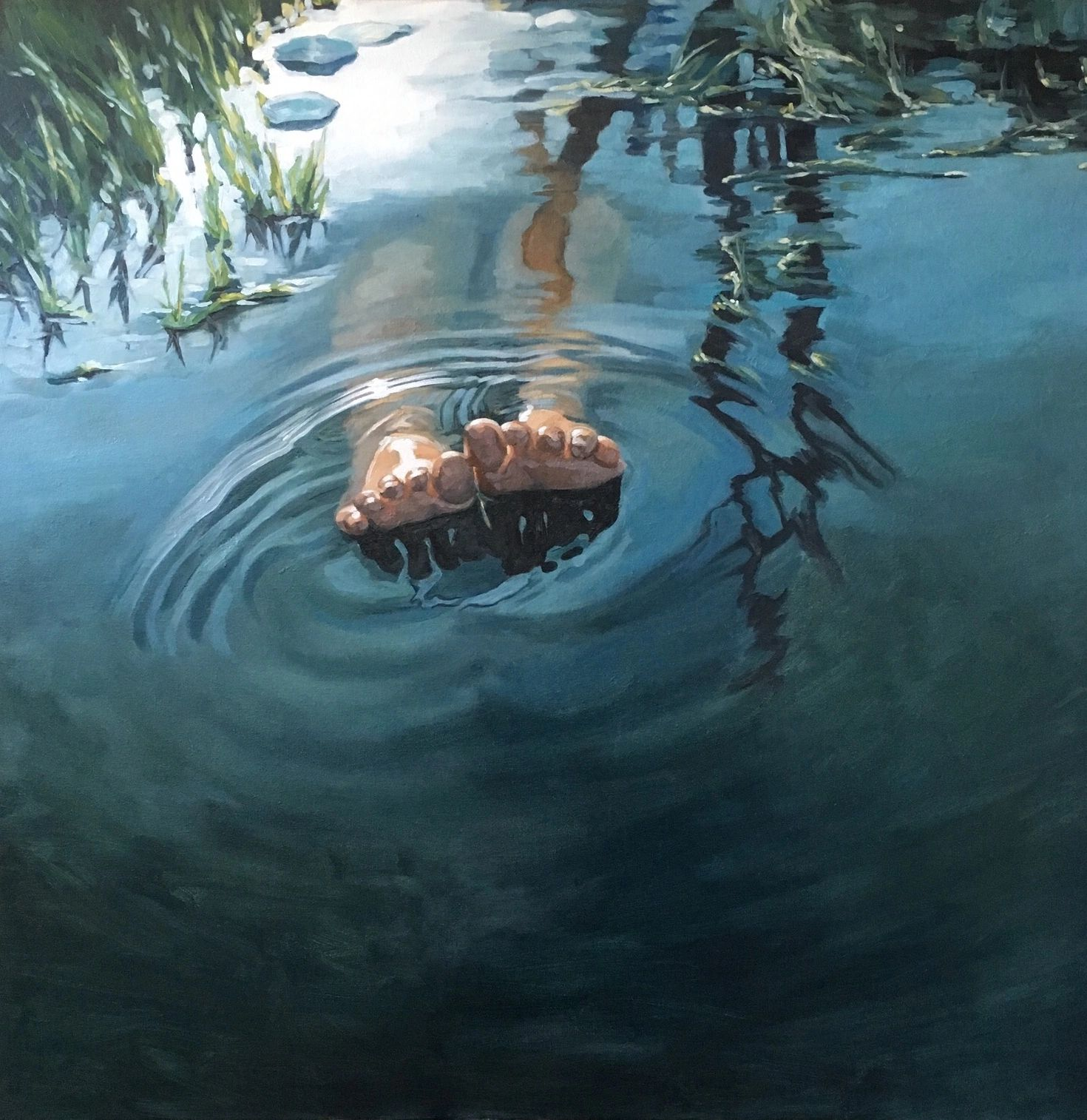 """Shallow Water""  Oil on canvas  36"" x 36""  $4500"