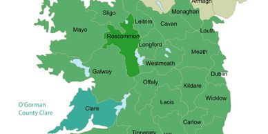 Map of Ireland showing Ancestral locations