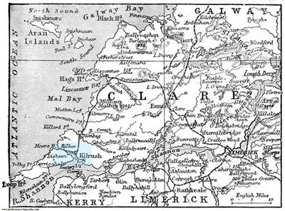 County Clare circa 1906.  Blue area is believed to be the O'Gorman origin