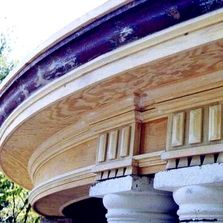 complete rebuild of 1800's circular porch. jamison woodcraft based in Jim Thorpe, Pennsylvania.