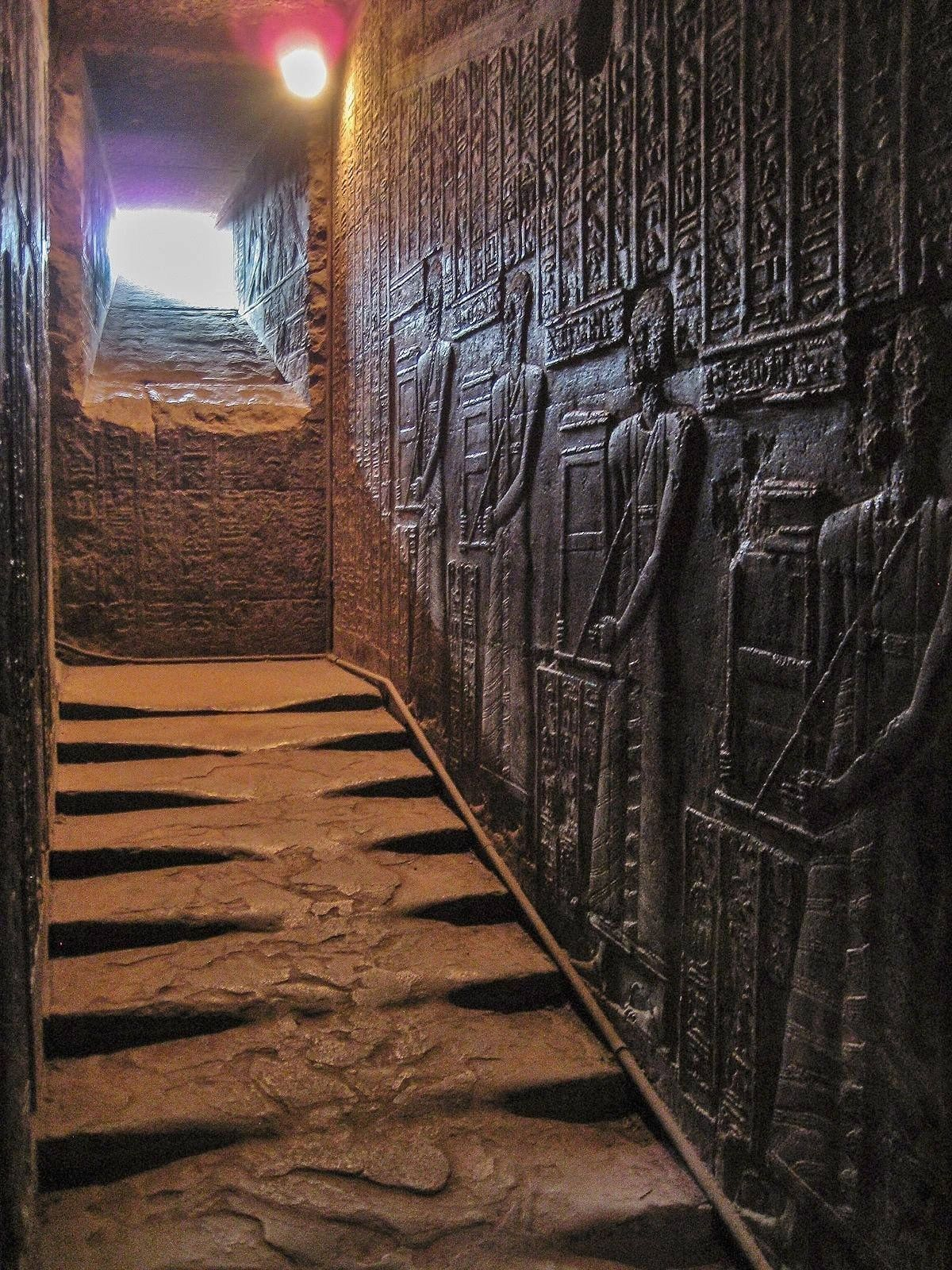 This is a stairway in the Temple of Hathor in Dendera, Egypt.