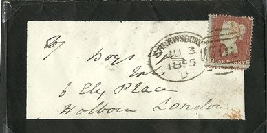 Victorian Penny Red cancelled with a 'Spoon' cancellation.