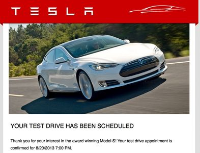 A snapshot in time of the email I received from Tesla confirming my first test drive.