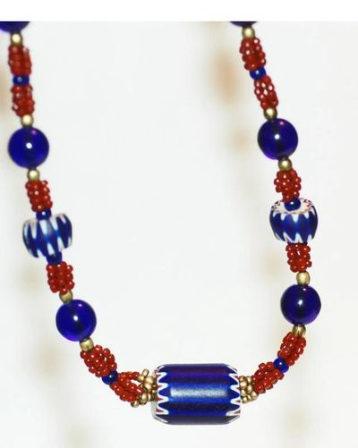 Antique Chevron Trade Bead Necklace with Cobalt Blue Glass and Red Melon Horn beads / One of a kind