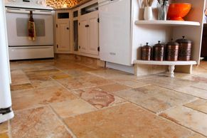 Clean tile floor in kitchen