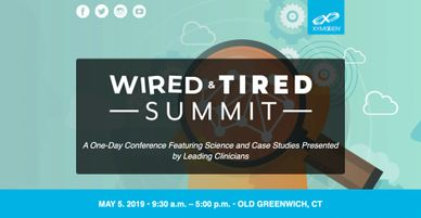 "Invitation to the Wired and Tired Summit. ""Wired and Tired"" with a  magnifying glass behind it."