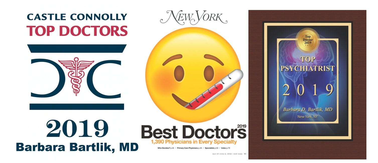 Three awards side by side. Top Doctors, NY Best Doctors, and Top Psychiatrist.