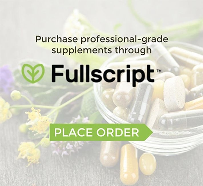Photo of Fullscript logo which allows you to buy supplements.