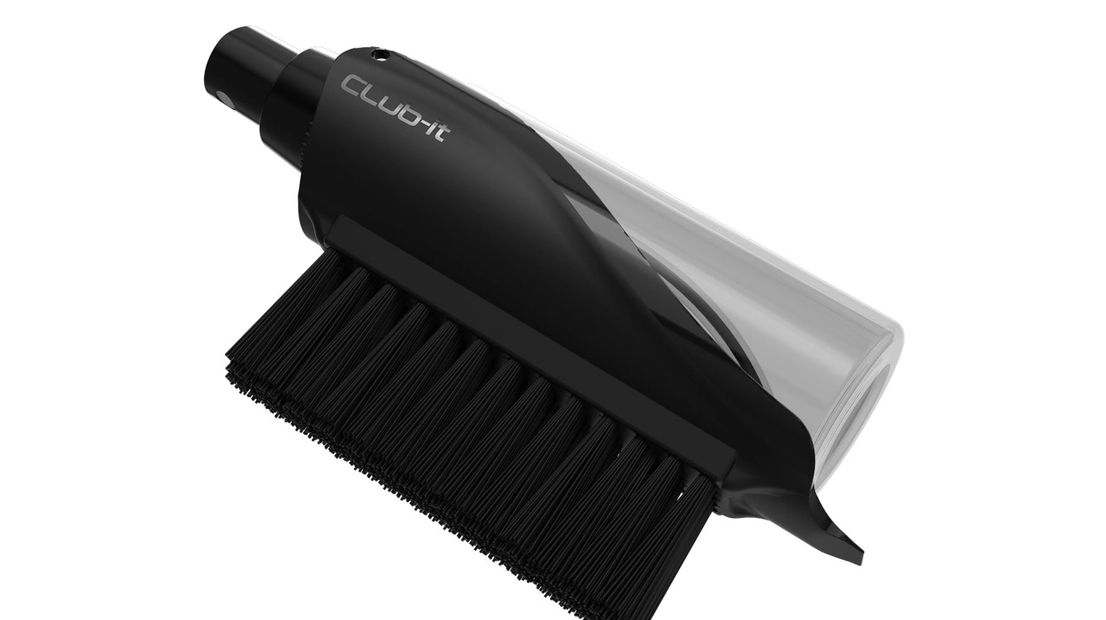 Golf Brush.  Just add water and soap solution.  Then.....spray it, scrub-it....CLub-it!