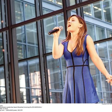 Chelsea Morgan Stock performing Part of Your World at the Annual Lincoln Center Award Breakfast