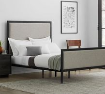 Malouf Clarke Designer Bed. Features clean lines, bold metals, and soft textures