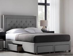 Platform Bed with four drawers create to underbed storage Upholstered in five unique fabrics