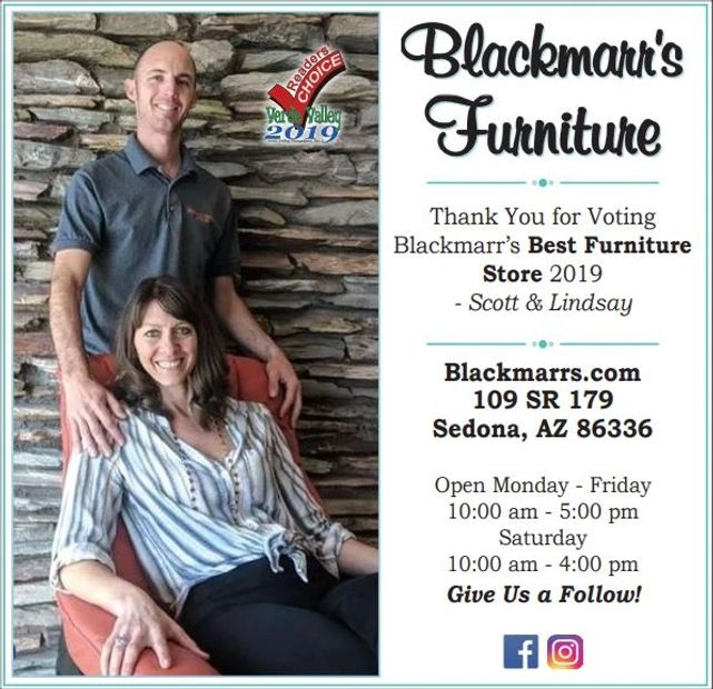 Blackmarr's Furniture Sedona voted number 1 furniture store in the Verde Valley 2019.